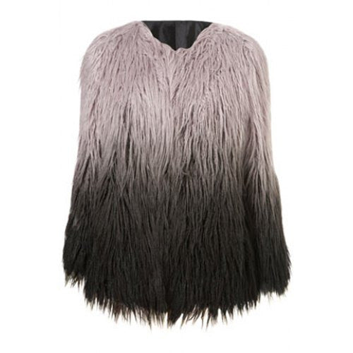 Noble Round Collar Long Sleeve Ombre Faux Fur Women