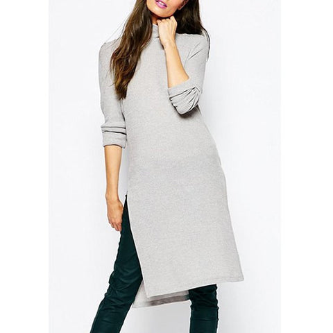 Chic Turtleneck Long Sleeve Pure Color Side Slit Women'S Knitwear LAVELIQ