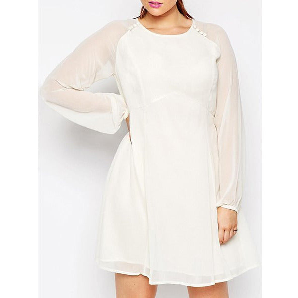 Elegant Solid Color Long Sleeve Back Hollow Out See Through Dress For Women Plus Size LAVELIQ - LAVELIQ - 1