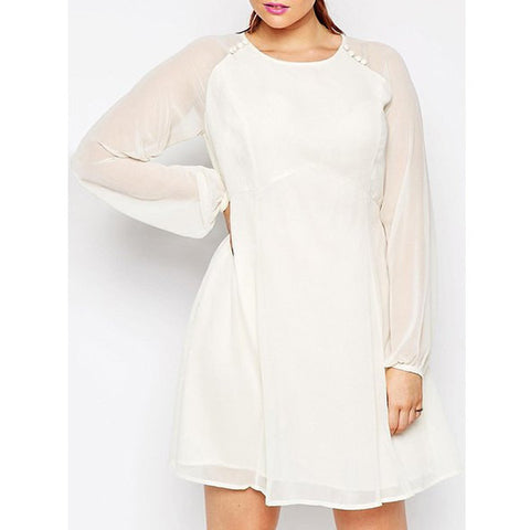 Elegant Solid Color Long Sleeve Back Hollow Out See Through Dress For Women Plus Size LAVELIQ