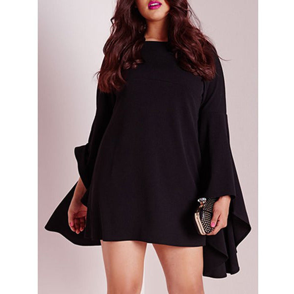 Sweet Black Boat Neck Long Bell Sleeve Plus Size Dress  Sale LAVELIQ - LAVELIQ - 2