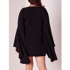 Sweet Black Boat Neck Long Bell Sleeve Plus Size Dress  Sale LAVELIQ - LAVELIQ - 3
