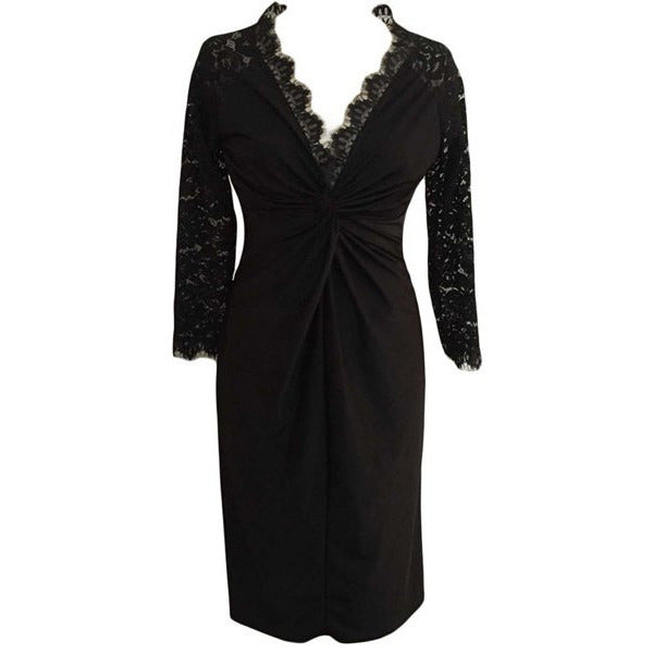 Sexy Plunging Neck Black Lace Spliced Long Sleeve Dress For Women Plus Size LAVELIQ - LAVELIQ - 1
