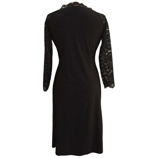 Sexy Plunging Neck Black Lace Spliced Long Sleeve Dress For Women Plus Size LAVELIQ - LAVELIQ - 2