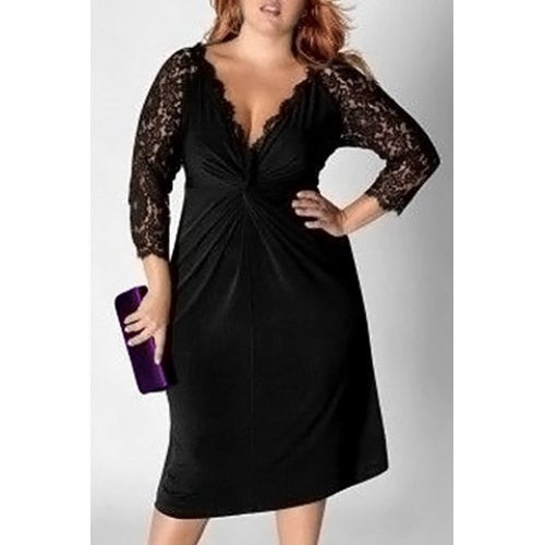 Sexy Plunging Neck Black Lace Spliced Long Sleeve Dress For Women Plus Size LAVELIQ - LAVELIQ - 3