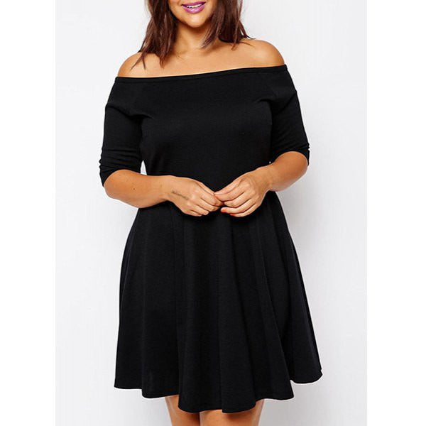 Sexy Off-The-Shoulder Half Sleeve Black Plus Size Women