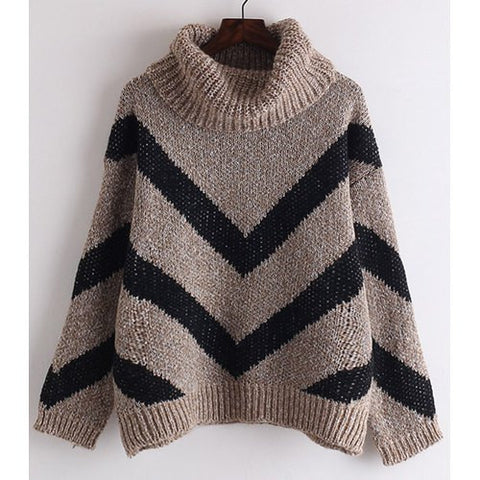Chic Turtle Neck Long Sleeve Loose-Fitting Zig Zag Women'S Sweater LAVELIQ