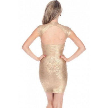 V Neck Gold Bandage Dress LAVELIQ SALE - LAVELIQ - 2
