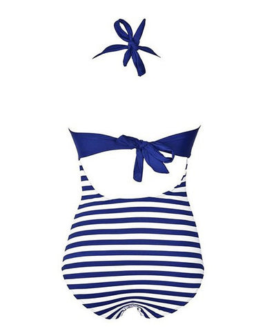 Alluring Halter Stripe Buttoned One-Piece Swimsuit For Women LAVELIQ