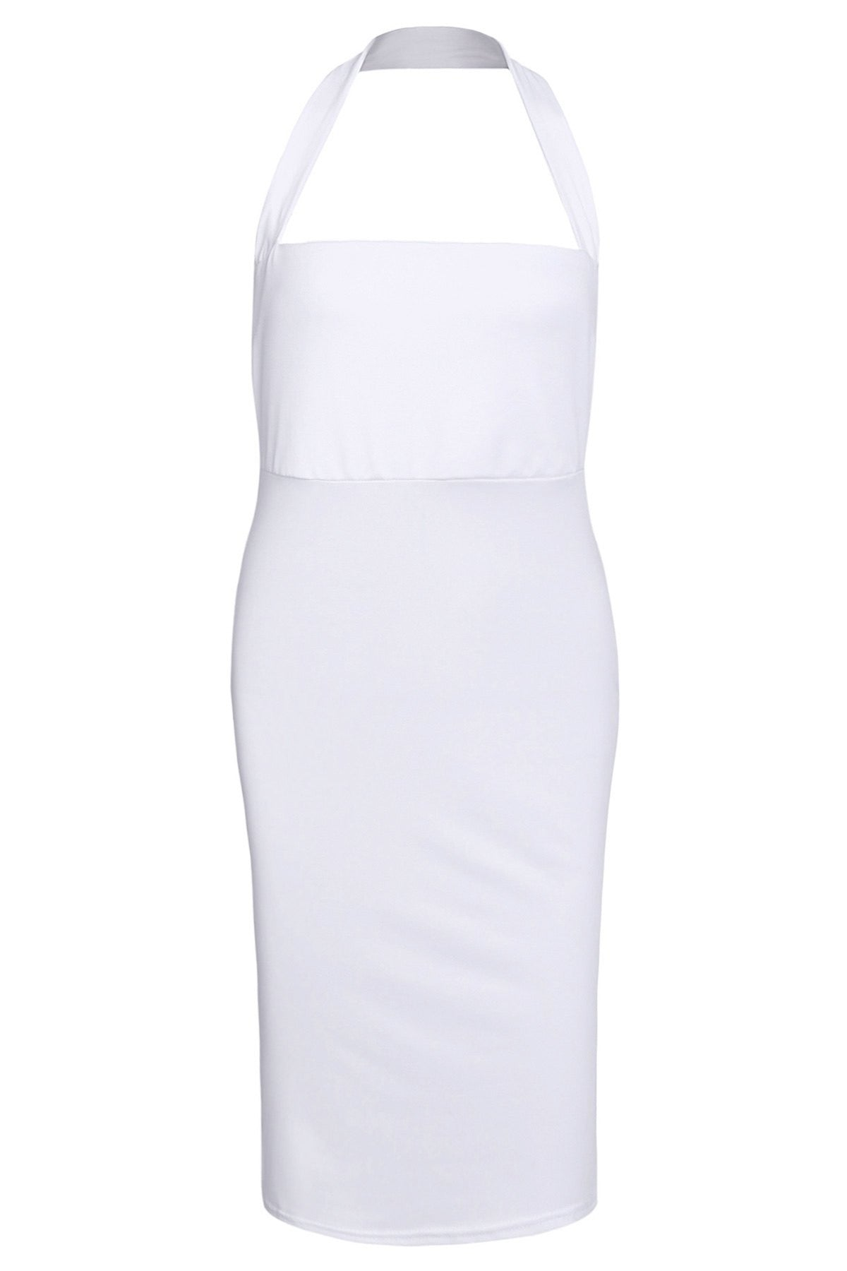 Elegant Halter Sleeveless Solid Color Bodycon Dress For Women LAVELIQ