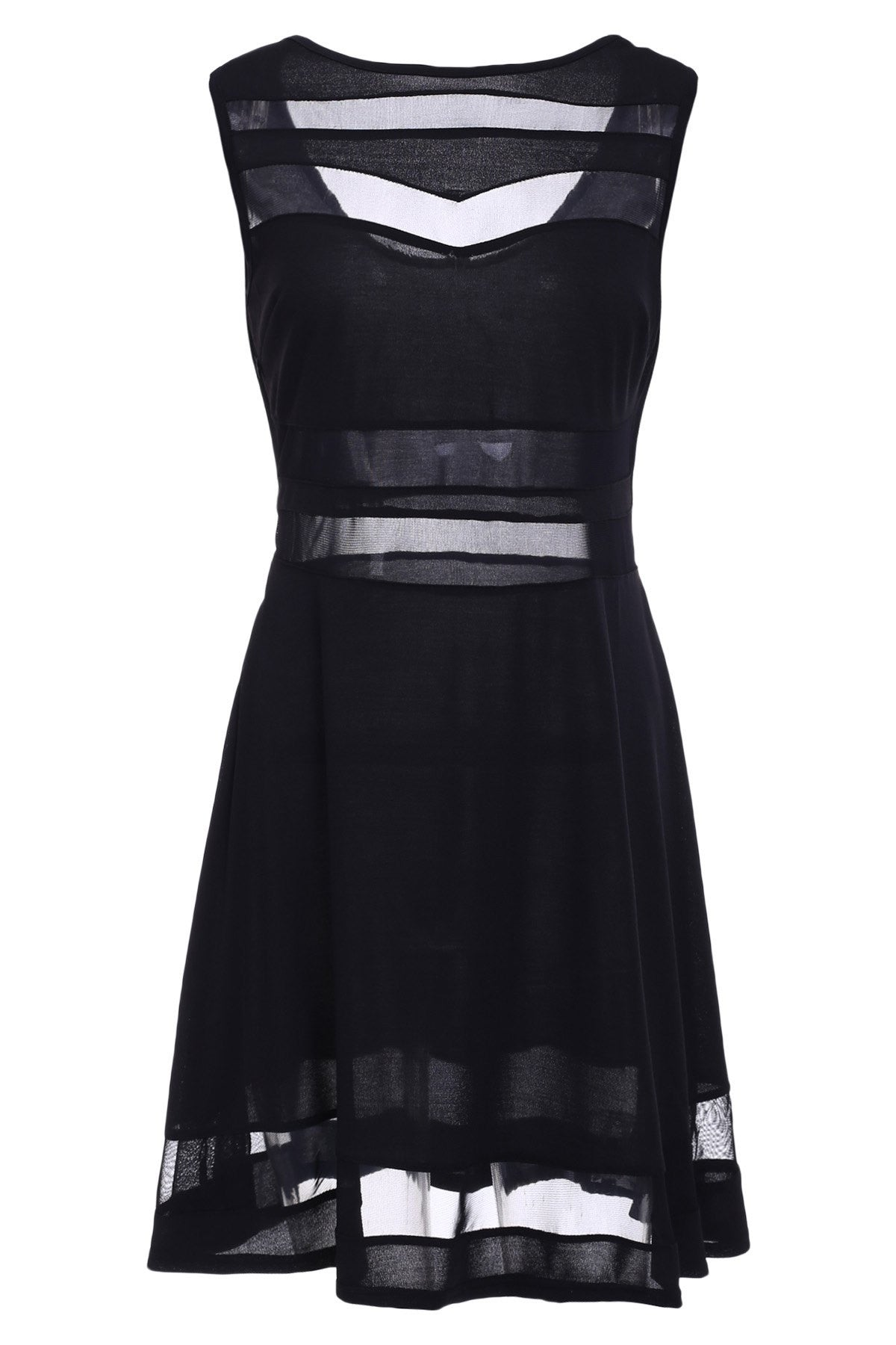 Fashionable Round Neck Sleeveless Mesh Splicing A-Line Dress For Women LAVELIQ