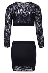 Sexy Long Sleeve Lace Splicing See-Through Crop Top + Black Mini Skirt Twinset For Women LAVELIQ