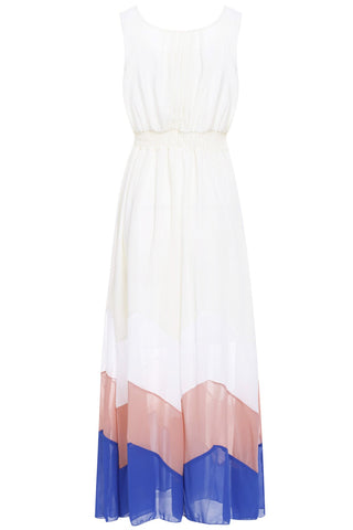 Stylish Scoop Collar Sleeveless Zig Zag Color Block Chiffon Women's Maxi Dress LAVELIQ