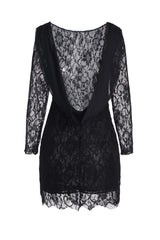 Elegant Jewel Neck Backless Long Sleeve Lace Dress For Women LAVELIQ