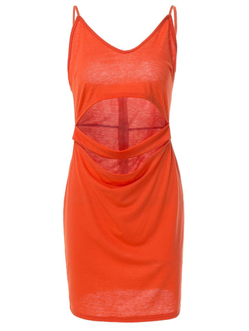 Trendy Spaghetti Strap Low-Cut Solid Color Hollow Out Sleeveless Dress For Women LAVELIQ
