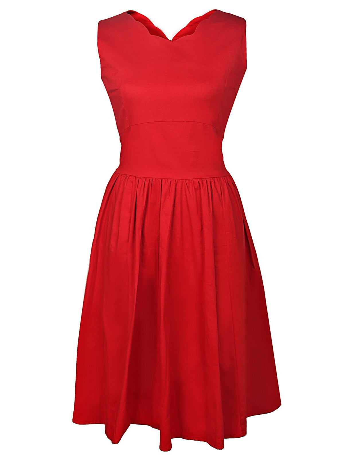 Vintage Style V-Neck Sleeveless Solid Color Women's Dress LAVELIQ