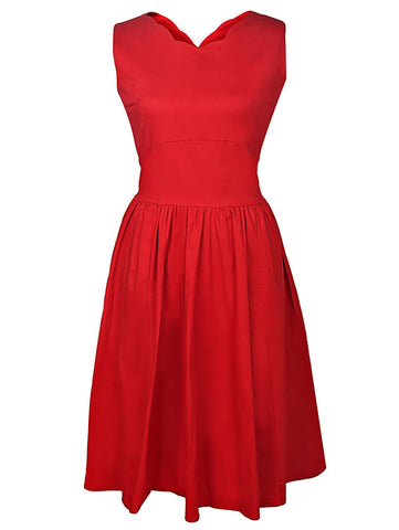 Vintage Style V-Neck Sleeveless Solid Color Women