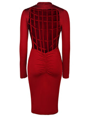 Trendy Solid Color Back Plaid Hollow Out Long Sleeve Bodycon Dress For Women LAVELIQ