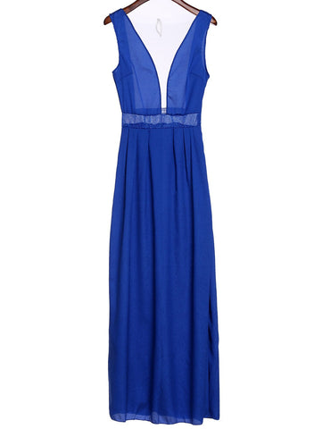 Sexy Plunging Neck Sleeveless See-Through Spliced Women's Prom Dress LAVELIQ
