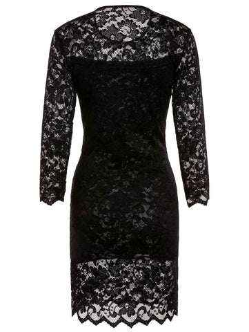 Chic Women's Solid Color 3/4 Sleeve Lace Round Neck Dress LAVELIQ