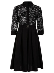 Lace Insert A-Line Midi Dress LAVELIQ