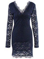Plunging Neck Long Sleeve Solid Color Women's Navy Blue Lace Midi Dress LAVELIQ