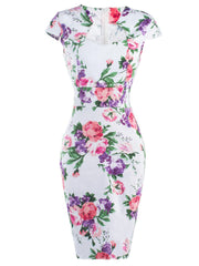 Cheongsam Style Floral Pattern Bodycon Dress LAVELIQ