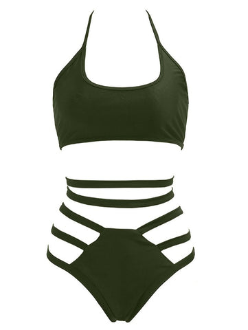 Alluring Halter Strappy Hollow Out Solid Color Women's Bikini Set LAVELIQ