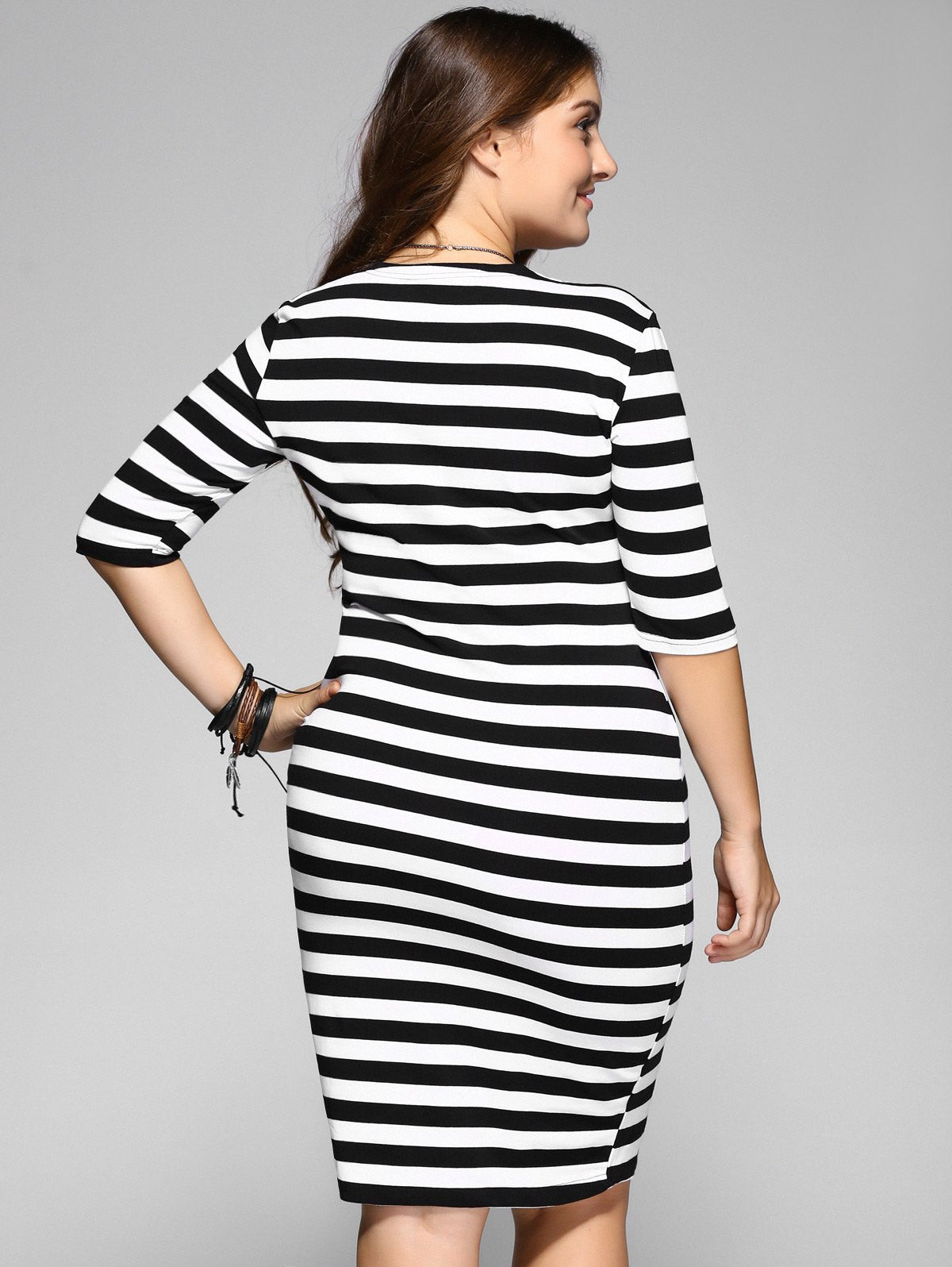 Plus Size Stripe Half Sleeve Fitted Dress LAVELIQ