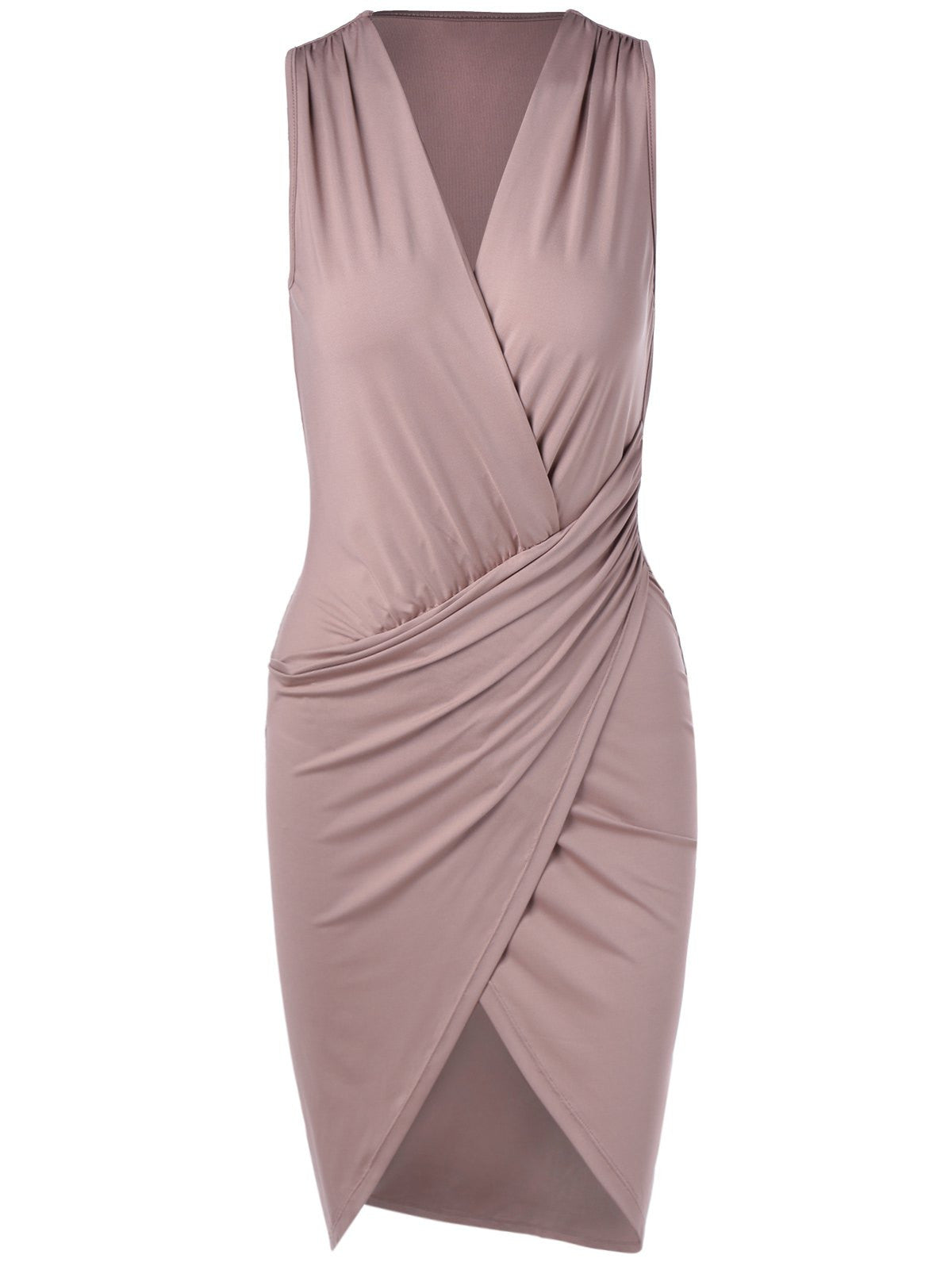 Elegant V-Neck Sleeveless Pleating Fitted Party Dress LAVELIQ