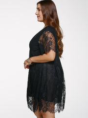Alluring V Neck Plus Size Lace Dress LAVELIQ
