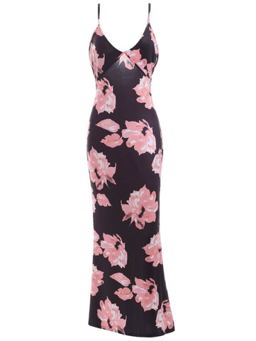 Plunging Neck Floral Pattern Backless Dress LAVELIQ