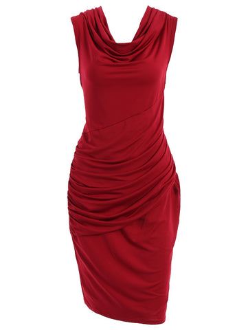 Cowl Neck Sleeveless Pure Color Women