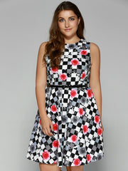 Plus Size Checkered Floral Print Belted Dress LAVELIQ