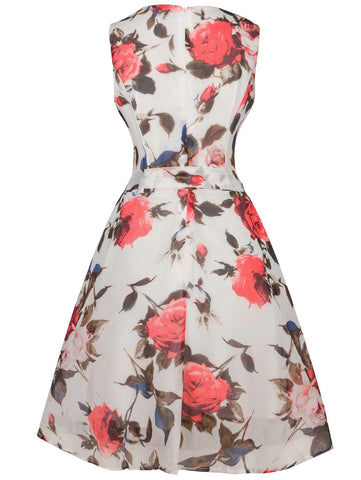 Retro Style Floral Print Belted Dress LAVELIQ