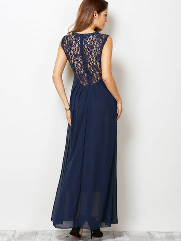 Sleeveless Lace Panel Maxi Dress LAVELIQ