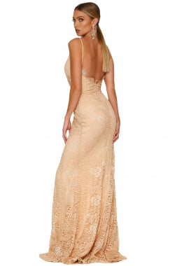 Nude Yum Lacy Lace Bridal Party Gown LAVELIQ