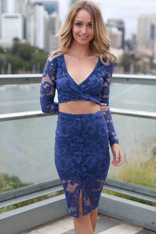 2Pcs Blue Flower Lace Long Sleeves Skirt Set LAVELIQ