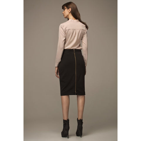 Black Pencil Skirt With Long Zip For Women LAVELIQ