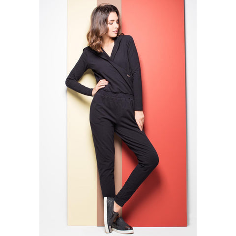 Black Relaxed  Hooded Jumpsuit For Women LAVELIQ