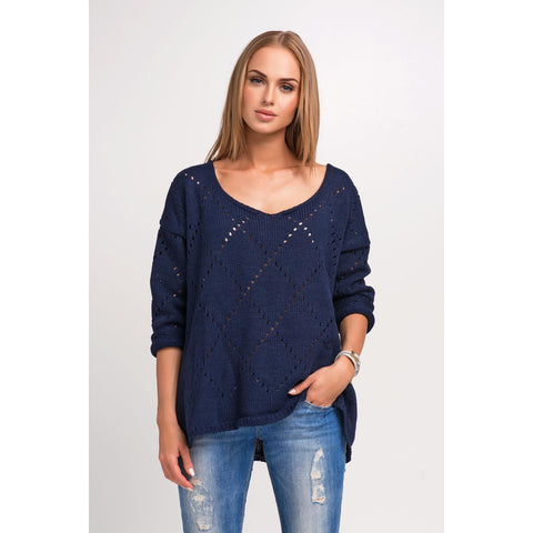 Navy Blue Ajure Pattern Plus Size Sweater LAVELIQ