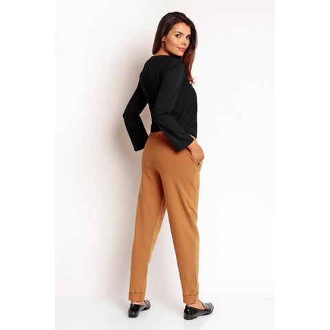Brown Narrowed Legs Elastic Waist Casual Pants LAVELIQ