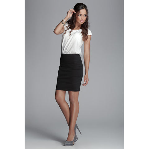Black Skirt With Short Pencil Layer LAVELIQ