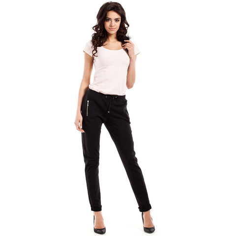 Classic Black Slim Legs Pants With Zippers LAVELIQ