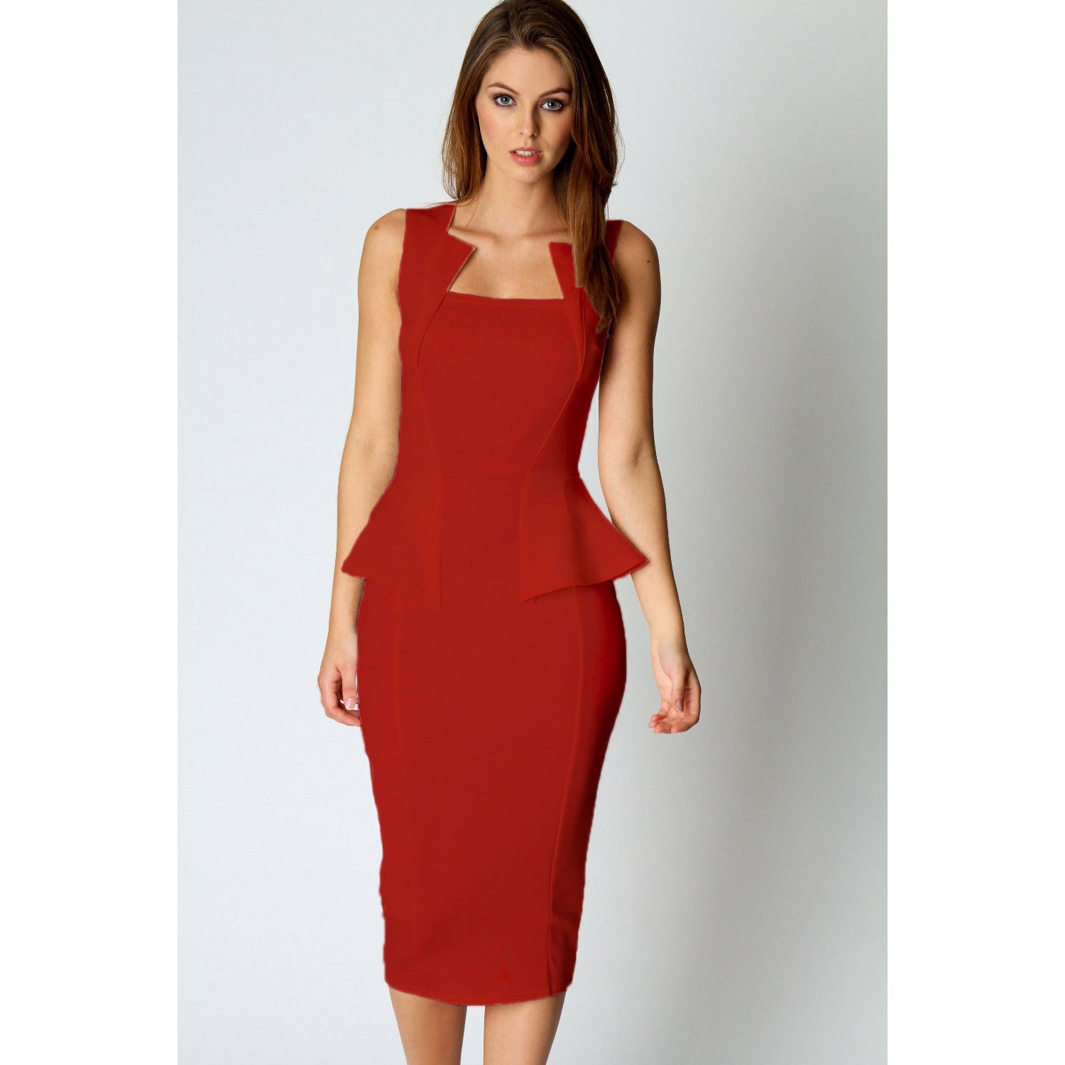 Red Sleeveless Midi Dress LAVELIQ - LAVELIQ - 1