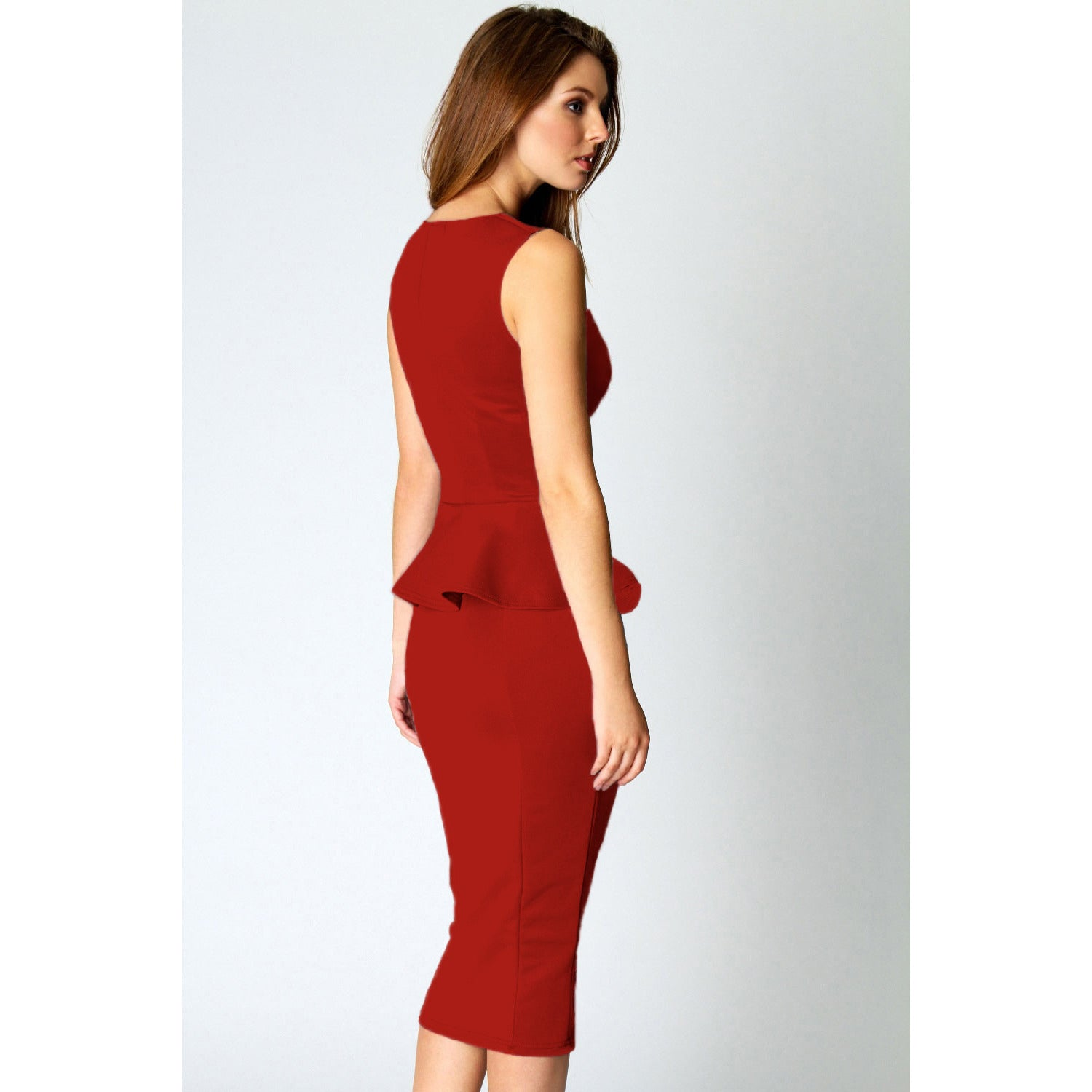Red Sleeveless Midi Dress LAVELIQ - LAVELIQ - 2