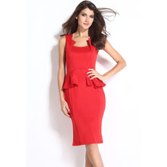 Red Sleeveless Midi Dress LAVELIQ - LAVELIQ - 3