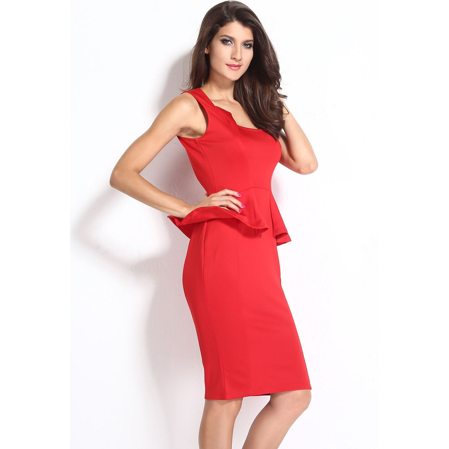 Red Sleeveless Midi Dress LAVELIQ - LAVELIQ - 4