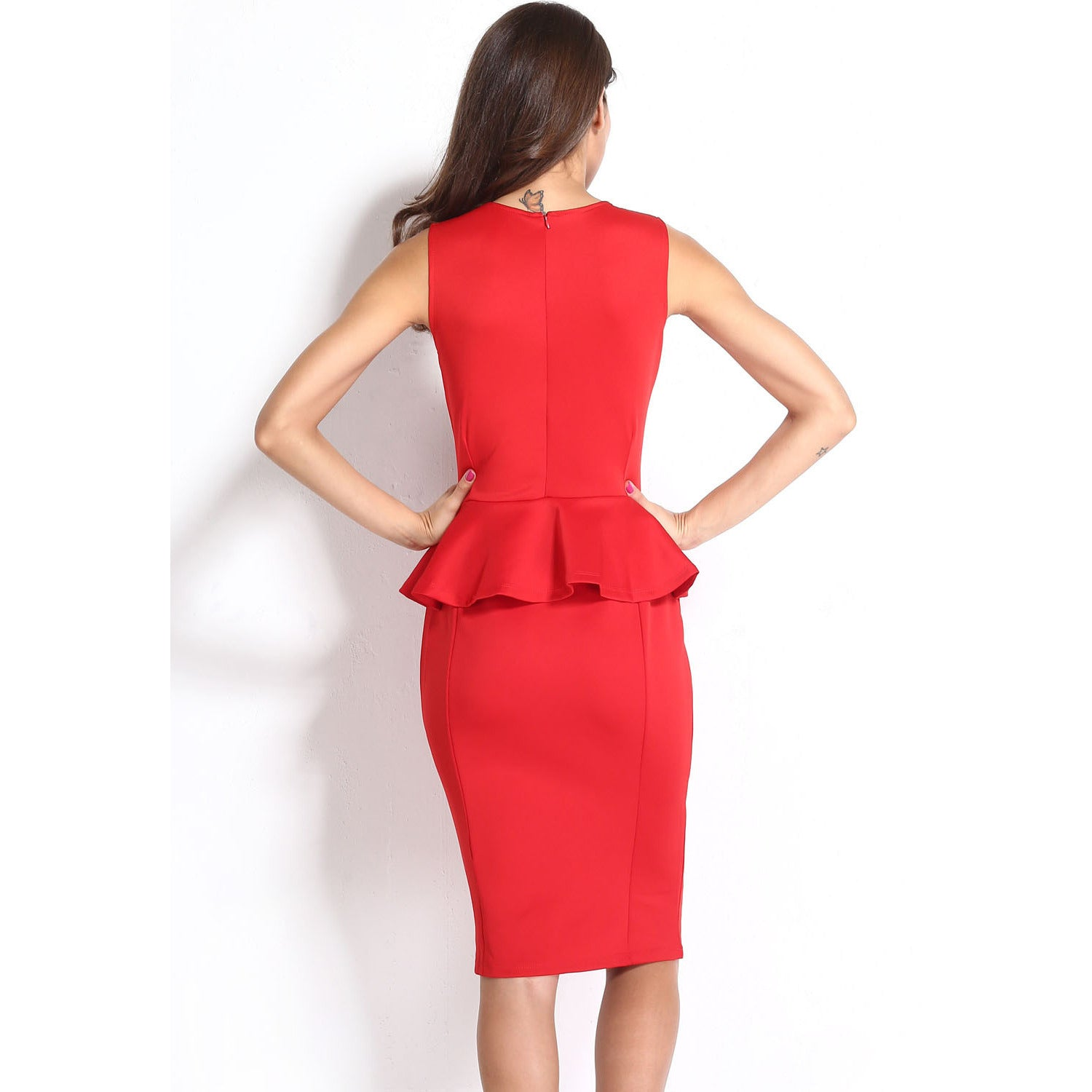 Red Sleeveless Midi Dress LAVELIQ - LAVELIQ - 5
