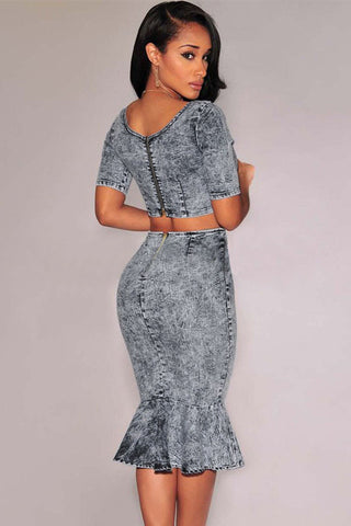 Acid Wash Denim Mermaid Skirt Set LAVELIQ